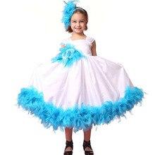 Мода белый и синий цветок девочки платья для партии и свадьбы вечерние платья дети девушки перо платье кофты для девочек