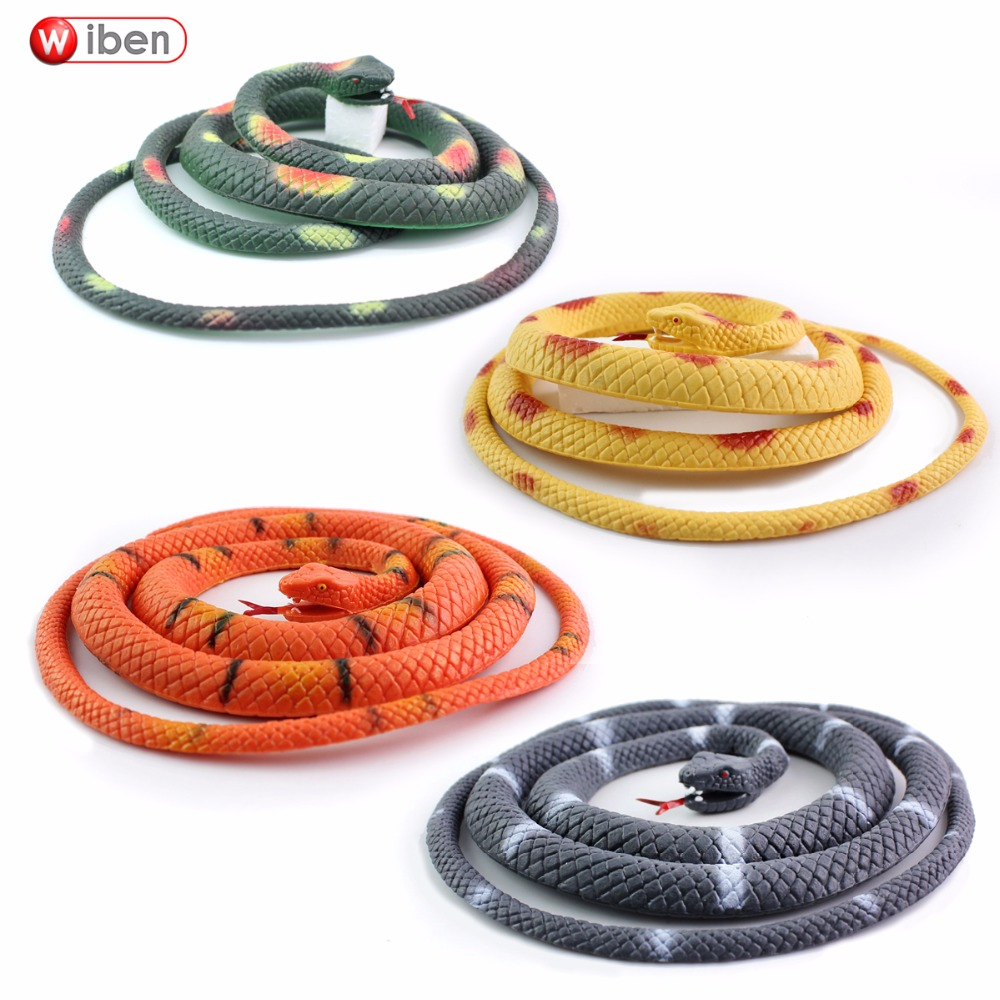 Wiben Halloween Realistic Soft Rubber Snake Fake Animal Model 115CM Garden Props Joke Prank Gift  Gags & Practical Jokes