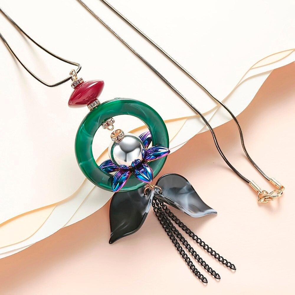 64d7f1ff76bd Meyfflin collar largo cristal mujeres collar joyería 2017 moda negro cadena  gotas Maxi collares colgante Collier