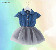 Girls clothes 2017 summer baby girl dress little girls 0-3 year old Jeans Dress Fashion New /