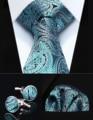 "TZP13Q8 Aqua Paisley 3.4"" Silk Men Tie Necktie Handkerchief Cufflinks Set Party Wedding Classic Pocket Square Tie"
