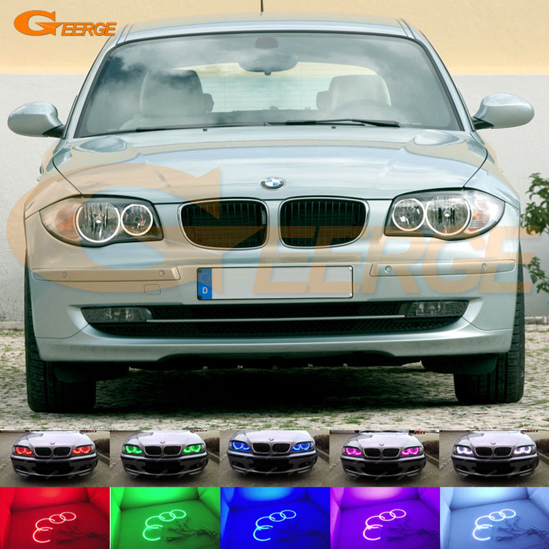 For BMW 1 Series E81 E82 E87 E88 Halogen Headlight Excellent Angel Eyes Multi-Color Ultra bright RGB LED Angel Eyes kit led headlight lights angel eyes