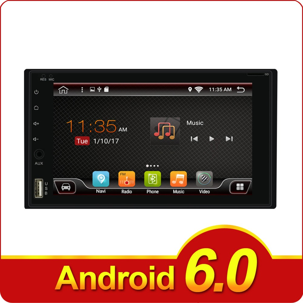 2 Din Android 6.0 Car Radio Stereo 6.2 inch Touch Screen Car Radio GPS Navigation Bluetooth WIFI USB SD Steering Wheel Control