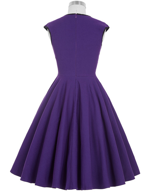 Women Dress 2016 Robe Vintage 1950s 60s Rockabilly Swing Summer Dresses Jurken Sexy V Neck Casual Purple Blue Tunic Vestidos