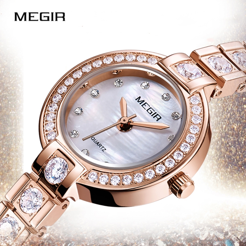MEGIR Top Women Watches Rose Gold Luxury Rhinestone Watch Women Shining Diamond Ladies Watch Relogio Feminino Reloj Mujer