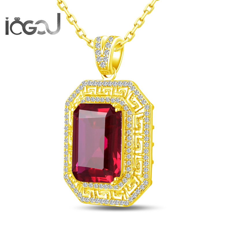 Здесь продается  IOGOU 925 Sterling Silver Rectangle Yellow Gold Color Pendants Wedding Red Sona Simulated Engagement Hip Hop Party Male Jewelry   Ювелирные изделия и часы