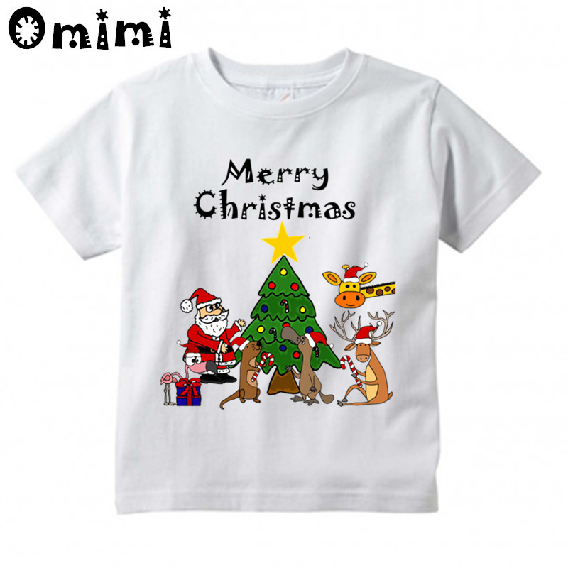 Boys/Girls Santa and Friends Christmas Design T Shirt Kids Casual Tops Children's Summer White Cute T-Shirt kids cccp ussr gagarin print t shirt boys and girls the soviet union russia space design tops baby summer white t shirt hkp2437