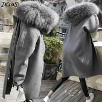 DICLOUD Korea Hooded Coats Women Winter Long Coat Ladies Woolen Jackets Female Warm Clothes Brand Designer Outerwear 2018