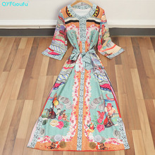 QYFCIOUFU 2018 High Quality Women's Printed Maxi Dresses Long Sleeve Fashion Designer Runway Floral Print Summer Party Dresses