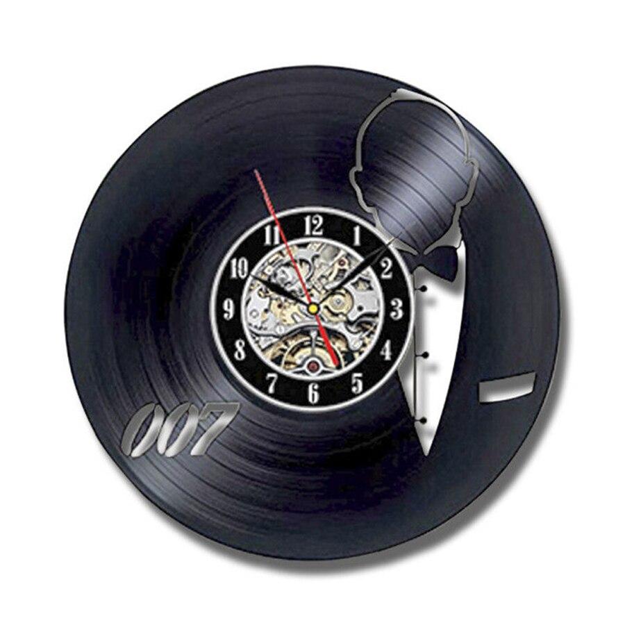 Vinyl Wall Clock Modern Design Living Room Decoration James Bond 007 Vintage Style Clocks Wall Watch Home Decor Silent 12 inch|Wall Clocks| |  - title=