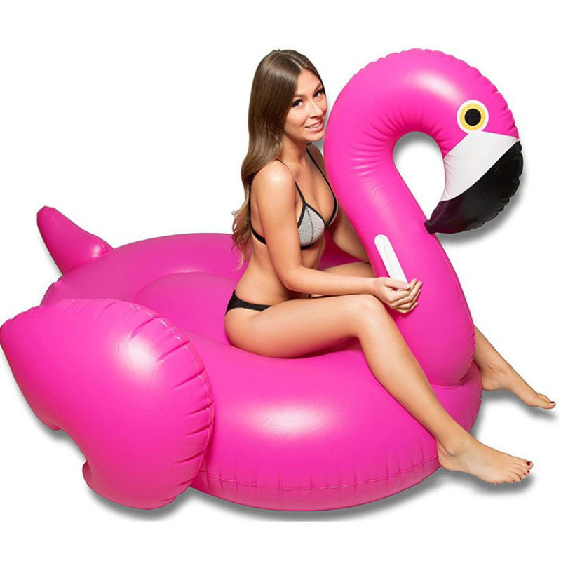 Inflatable Flamingo Pool Float 59 Inches Pink Rose Red Swimming Circle Ring For Adult Holiday Water Party Toy Beach Bed Children