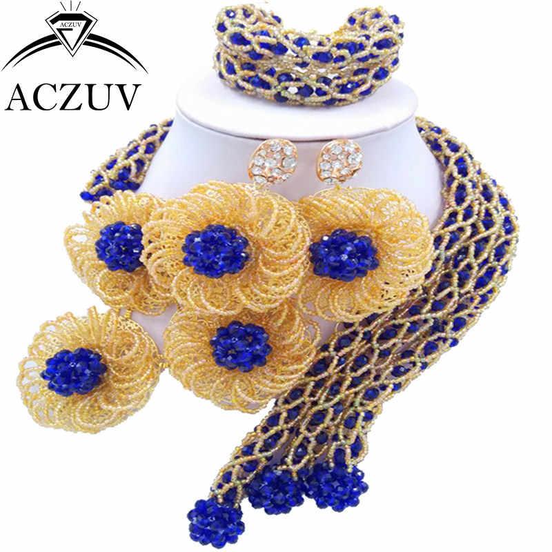 ACZUV Latest Royal Blue Gold AB Crystal Beaded African Jewellery Designs Nigerian Wedding Beads Jewelry Set C3F001