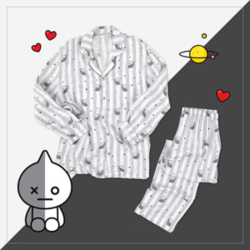 Original quality Bts   Pajamas     Sets   Kpop Bangtan Boys BT21 Cartoon Nighty Men Women Bedgown Sleepwear   Set