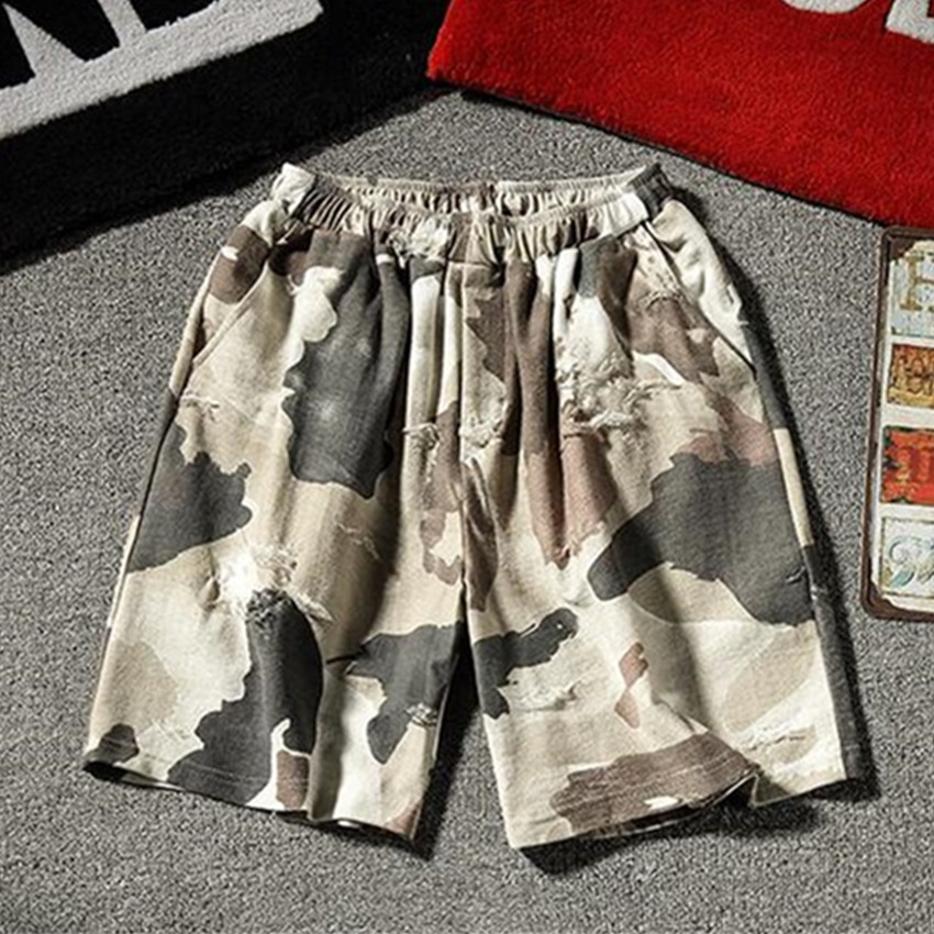 Summer New Beach Pants Men's Casual Personality Camouflage Hole Loose Large Size Shorts Fashion Teen High Quality Men's Shorts
