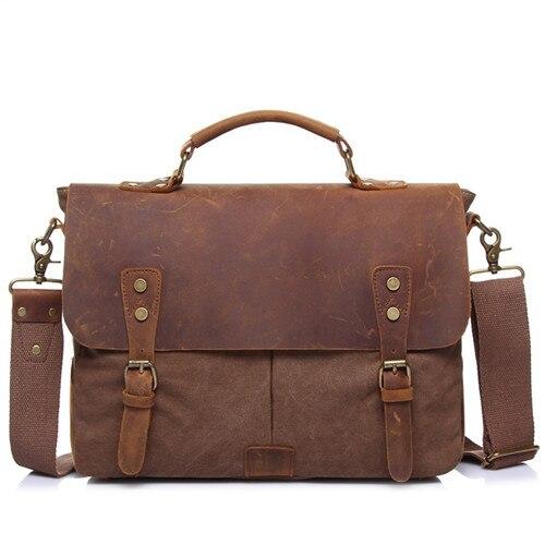 Menschwear Mens Canvas Genuine Leather Cross-body Bag Messenger Bag Crazy Horse Handbags