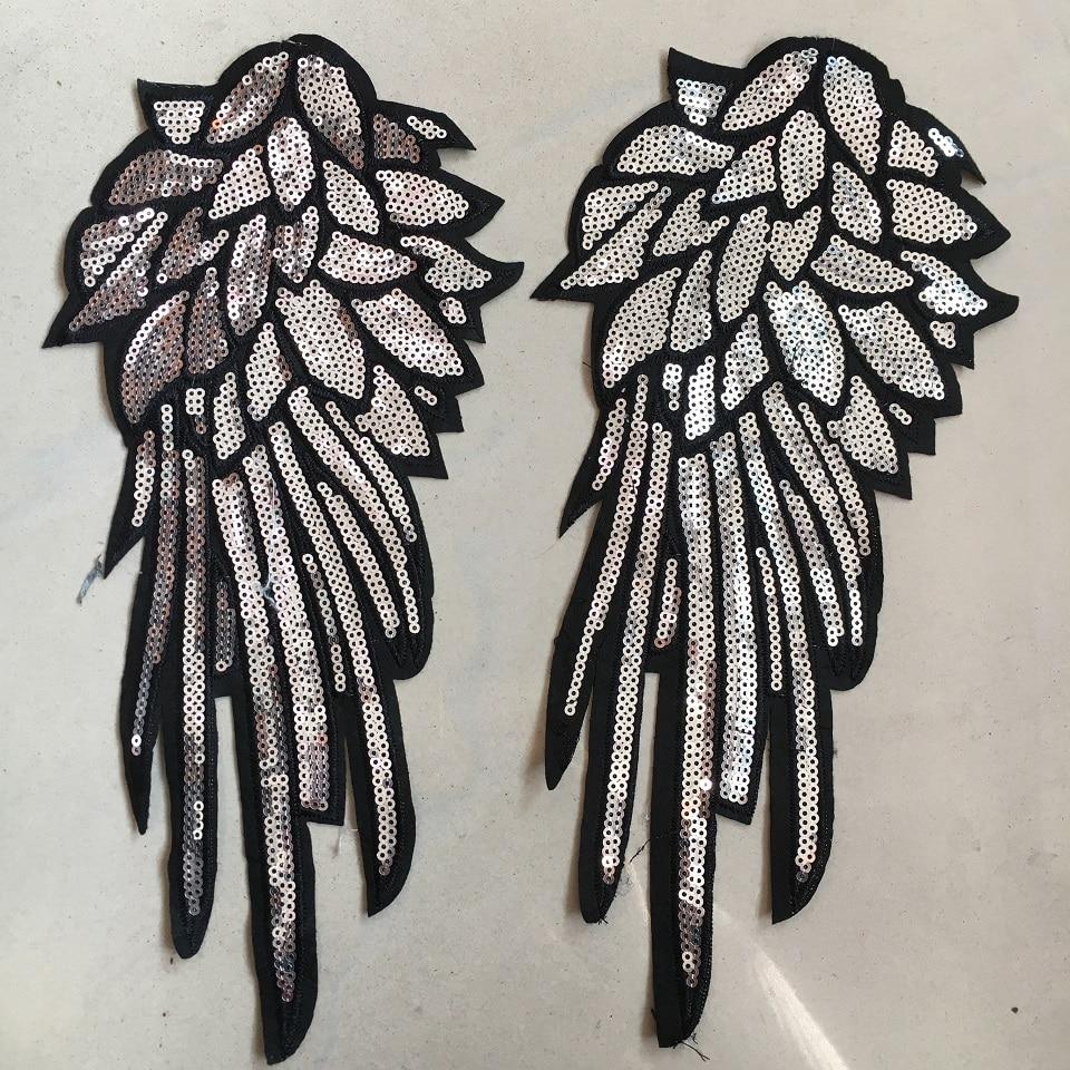 1 Paar Sliver Pailletten Patch Voor Kleding T-shirt Diy Wings Patches Applicaties Voor Kleding Naaien-op Geborduurde Patch