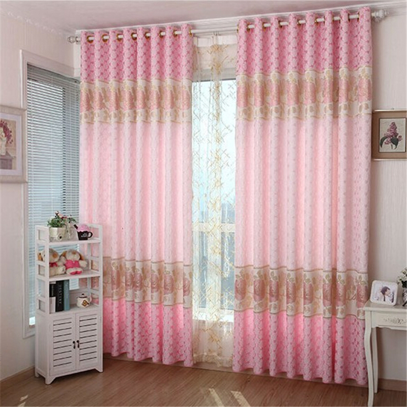 Living room curtain luxury curtains pink Peony tailored gold silk ...