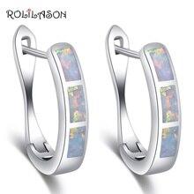 ROLILASON,, серьги-кольца для женщин, опт и розница, Белый огненный опал, серебро, штампованные, модные ювелирные изделия OE745