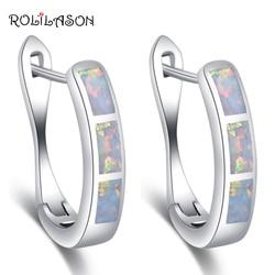 Rolilason venda quente brincos de argola para mulheres atacado & varejo branco fogo opala prata carimbado moda jóias oe745