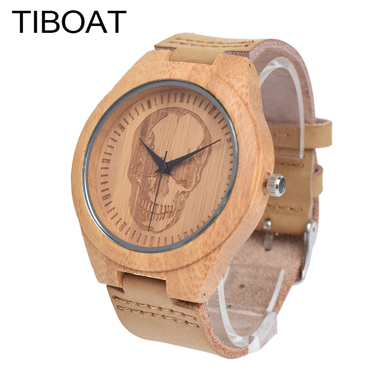 цены TIBOAT Luxury Brand Men Bamboo Wood Watches Men and Women Quartz Clock Skull Fashion Casual Leather Wrist Watch Male Relogio