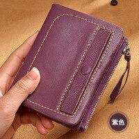 Retro Genuine Leather Sheepskin Short Women's Wallet/ Zipper Short Cute Wallet Leather Women Coin Purse small wallet Portable