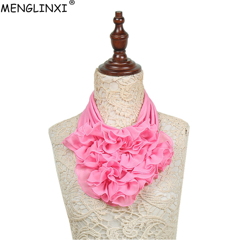 2018 New Solid Color Floral Collar Scarf Luxury Brand Scarf Women New Fashion Neckerchief Ring Scarves Neck Scarf For Ladies