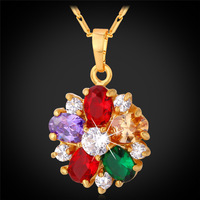 Kpop Multicolor Flower Necklaces AAA Cubic Zirconia Gold/Silver Color Vintage Coin Round Pendant Necklace For Women P224