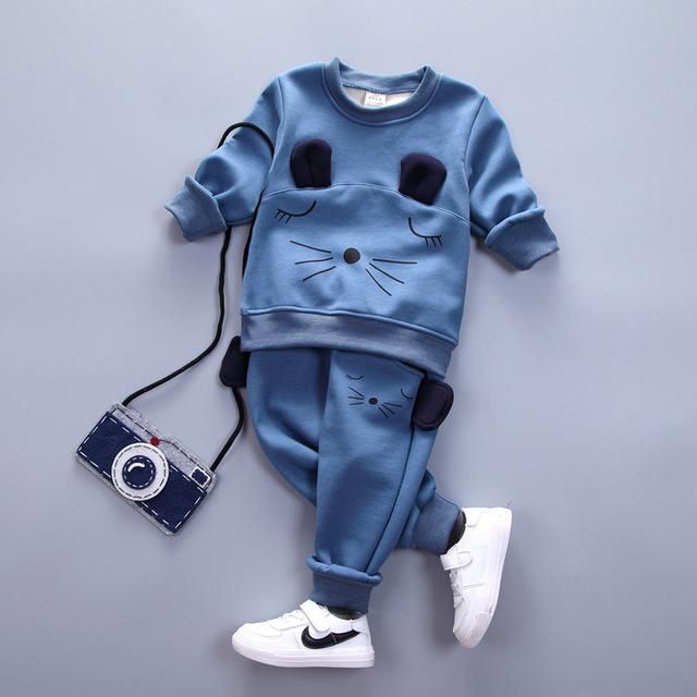 Infantil chicos ropa de invierno Cálido Niños Que Arropan algodón del Espesamiento sudaderas + pants sport traje casual ropa de bebé niñas