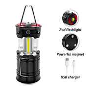 LED Portable Camping Lantern Hanging Tent Rechargeable Flashlight Light Emergencies Lamp Use 18650/AAA Battery Outdoor Hiking