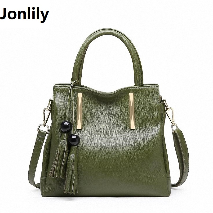 Jonlily Tassel genuine Leather Tote Bag 2017 Luxury Women Shoulder bags Fashion Women Bag Brand Handbag Bolsa Feminina SLI-342