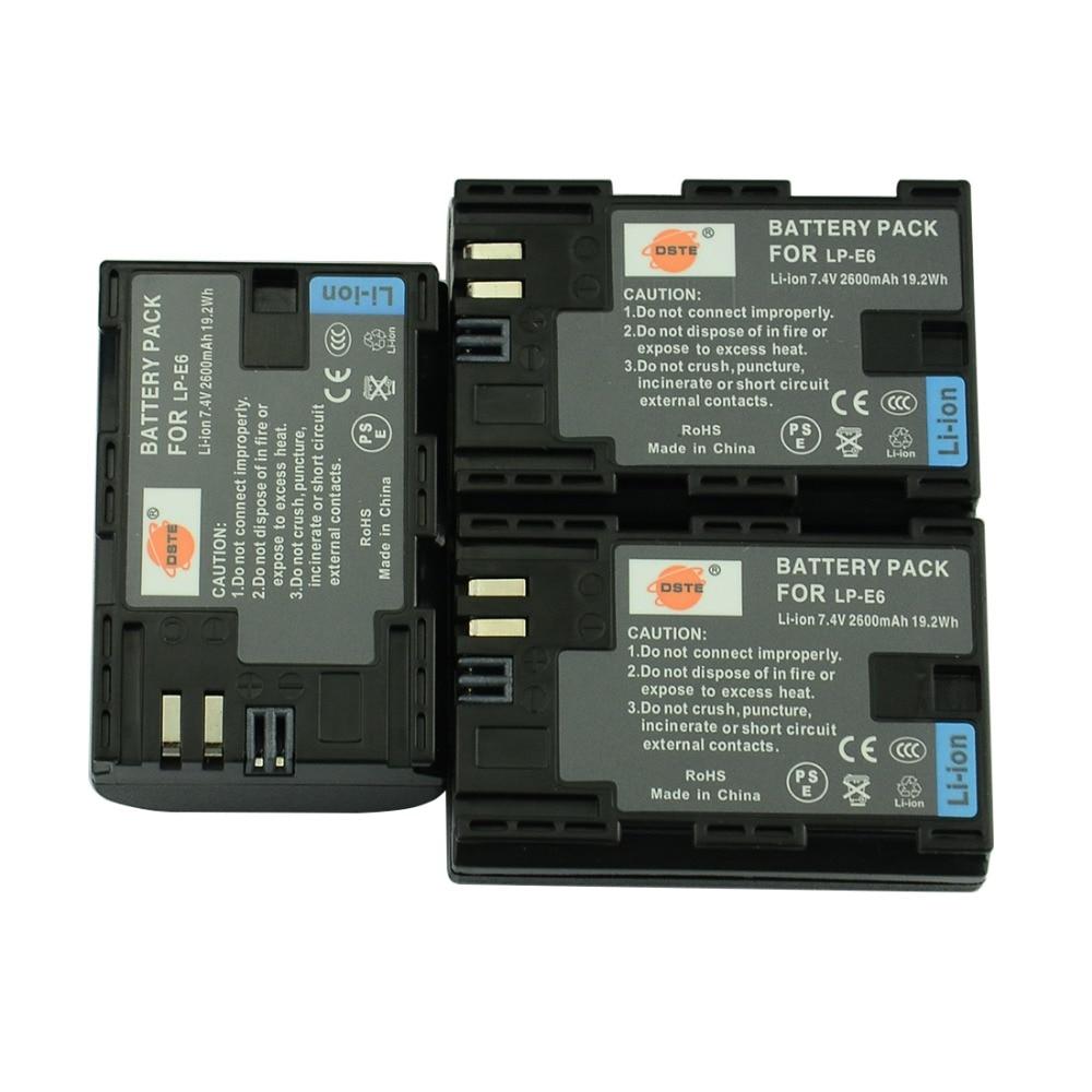 DSTE 3PCS 2600 mAh LP-E6 LP E6 LP-E6N Camera Battery for Canon EOS 6D 7D 5DS 5DSR 5D Mark II 5D Mark III IV 60D 60Da 70D 80D