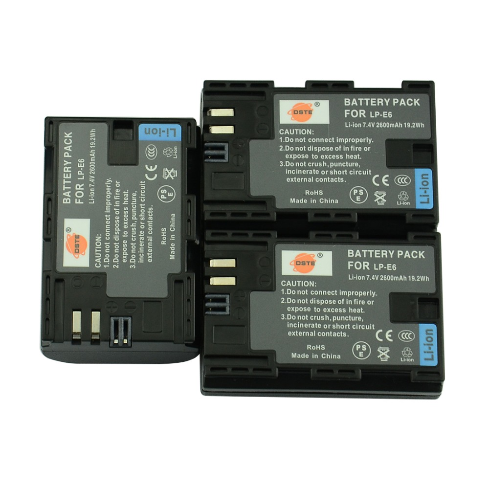 Dste 3 unids 2600 mAh lp-e6 LP E6 lp-e6n Baterías para cámara para Canon EOS 6d 7d 5Ds 5dsr 5d Mark II 5d Mark III iv 60d 60da 70d 80d