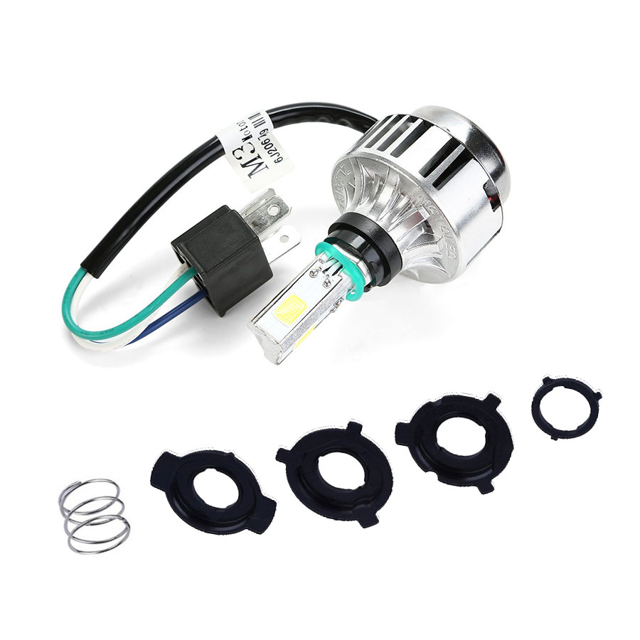 Hi/Lo Beam H4 Motorcycle <font><b>Headlight</b></font> Front Light Bulb Lamp 6500K 32W 3000LM COB <font><b>LED</b></font> HID White <font><b>360</b></font> degrees NEW image
