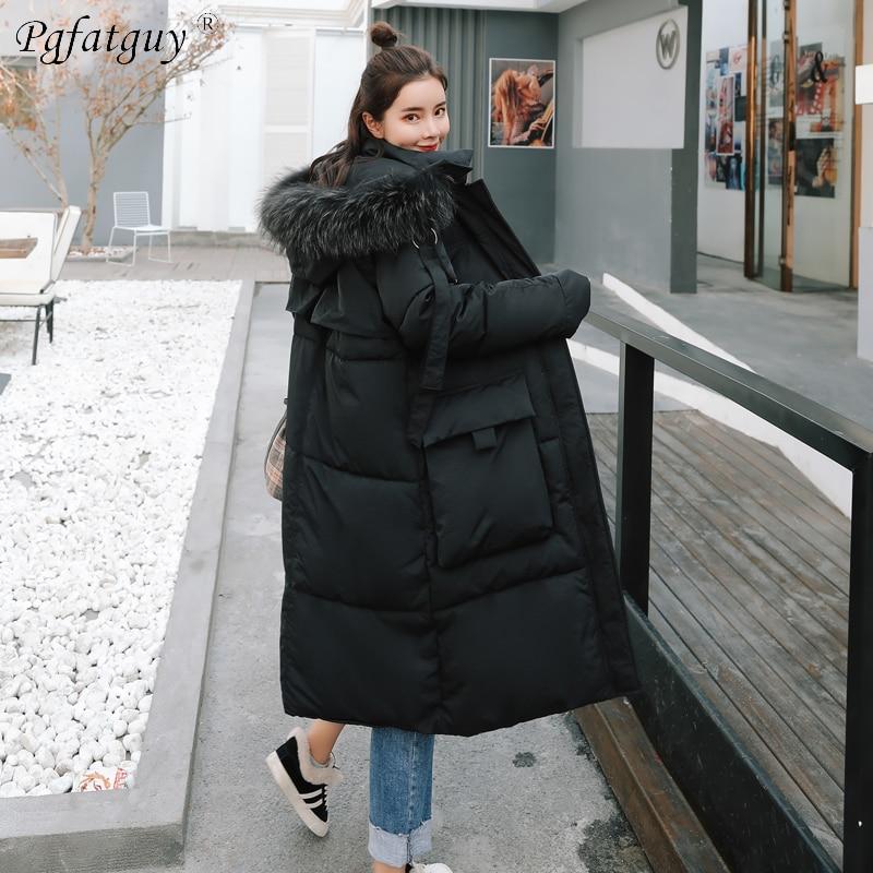 À Bas Femmes Feminino Beige 2018 Grande Femme Chaqueta Parkas Longues Survêtement Hiver noir Dames Capuchon Coton Épaissir Vestes Fourrure Chaud TTfXg7