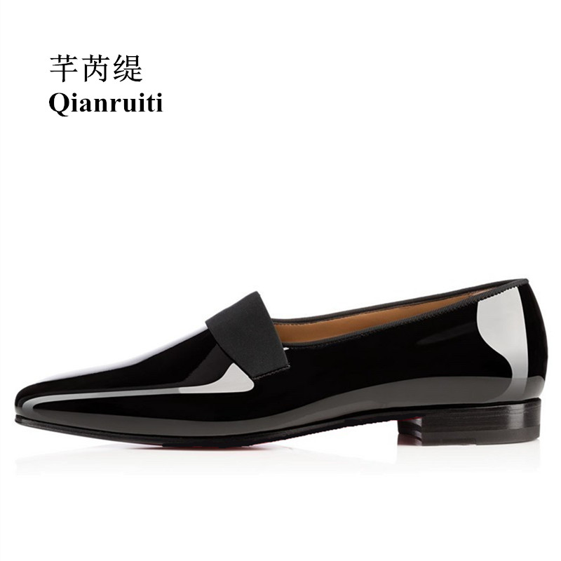 Qianruiti Men Patent Leather Shoes Slip-on Oxfords Elastic Band Business Wedding Flats Men Dress Shoes EU39-EU46 qianruiti men alligator gold loafers metal toe business wedding oxfords high quality lace up slippers men dress shoe eu39 eu46