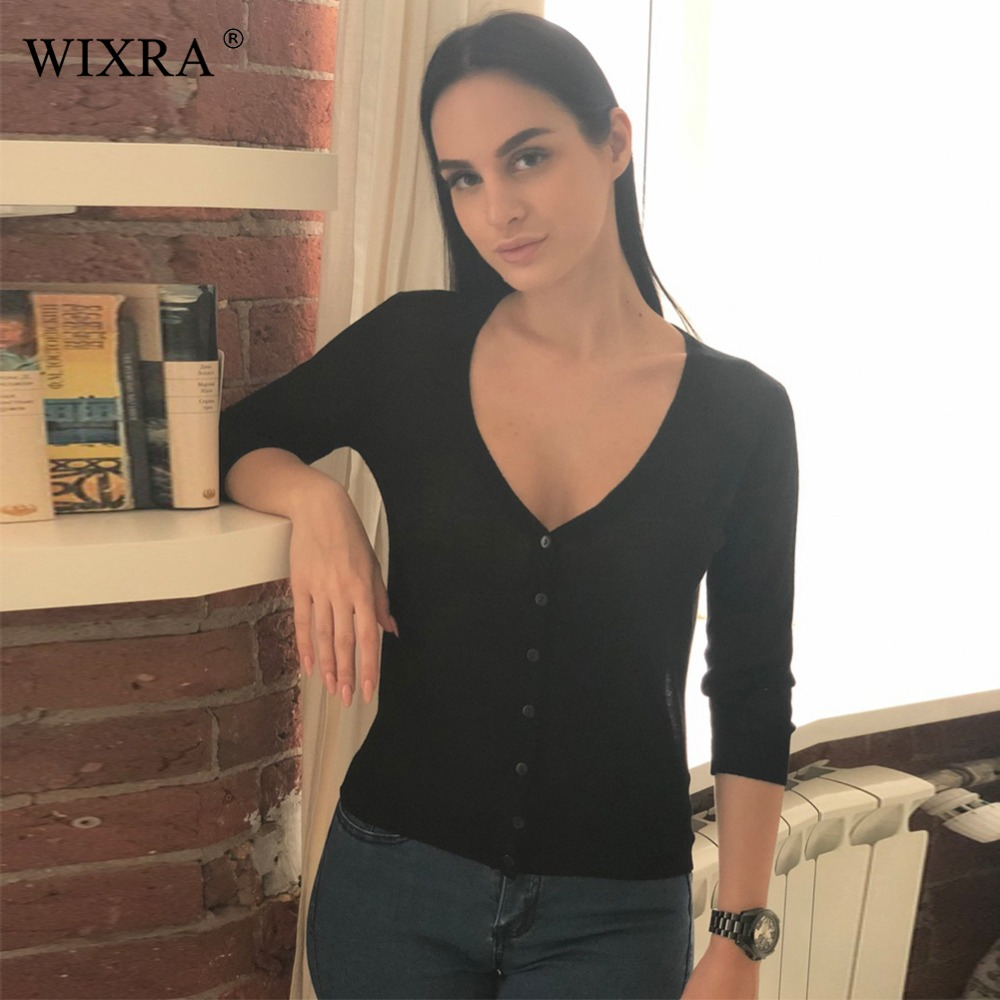 Wixra Warm and Charm New Women Cardigan Knitted Sweater Coat Three Quarter Sleeve Ladies Solid V-Neck Woman Cardigans Crop Tops