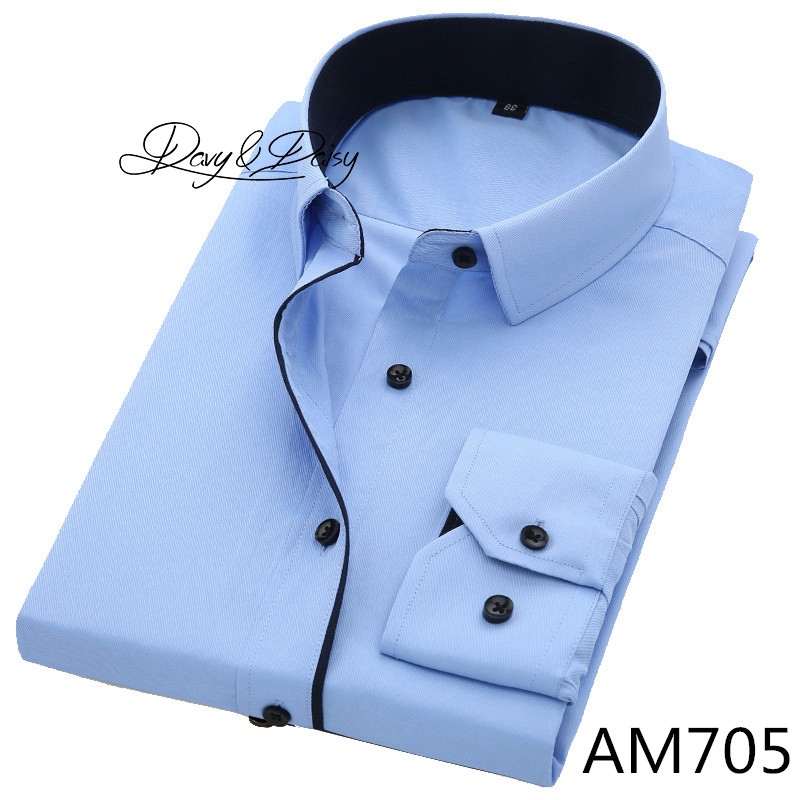 DAVYDAISY High Quality Men Shirt Long Sleeve Twill Solid Formal Business Shirt Brand Man Dress Shirts DS085 16