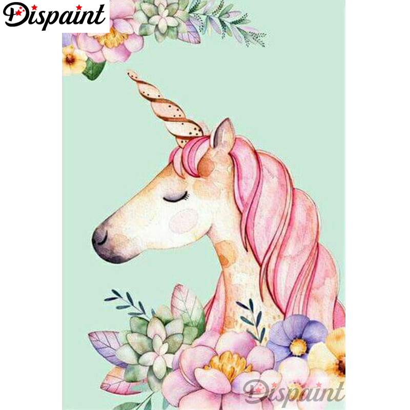 Dispaint Full Square Round Drill 5D DIY Diamond Painting quot Cartoon unicorn quot Embroidery Cross Stitch 3D Home Decor A10510 in Diamond Painting Cross Stitch from Home amp Garden