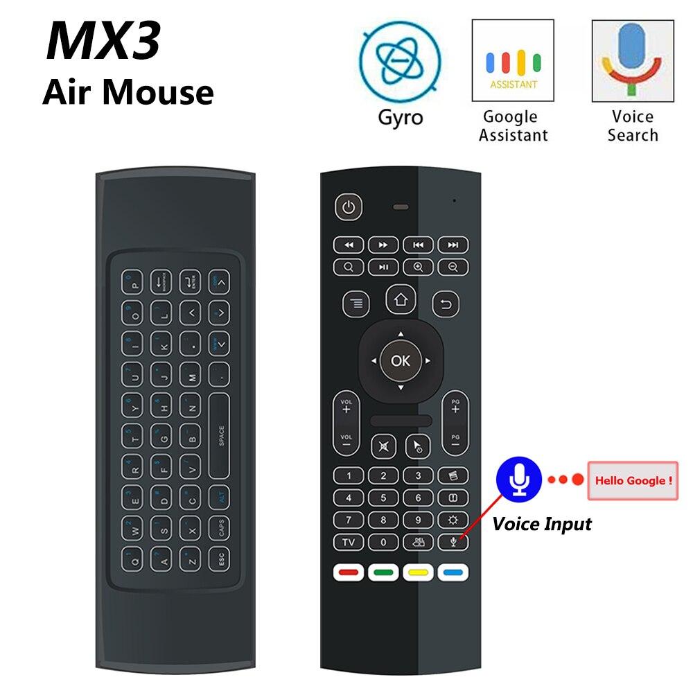 MX3 MX3-L Retroilluminato Air Mouse T3 di Smart Voice Telecomando 2.4G RF Tastiera Senza Fili Per X96 mini KM9 A95X h96 MAX Android TV Box