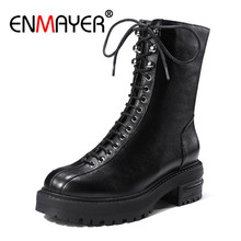 ENMAYER Women Ankle Boots Round Toe Shoes Size 34-38 Med Heels Thick Fashion Winter boots Lace up Punk Zipper CR743