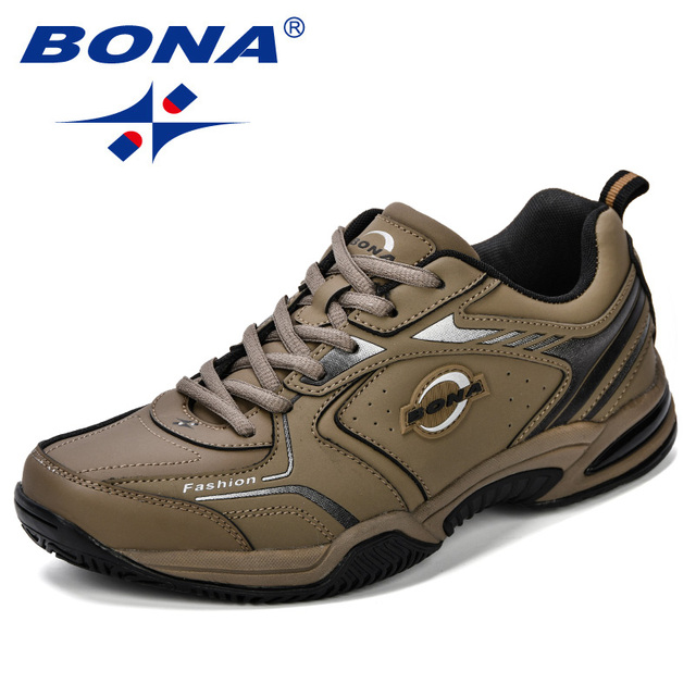 BONA New Popular Men Tenis Shoes Leather Outdoor Sport Shoes Classics Jogging Shoes Comfortable Trendy Man Sneakers Shoes
