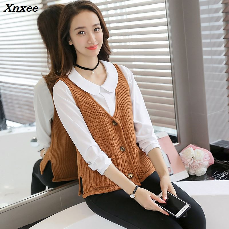 Women Cardigan vest 2018 Autumn Winter Fashion Knitted V Neck Sleeveless Women Sweaters casual Pockets short Vest waistcoat in Cardigans from Women 39 s Clothing