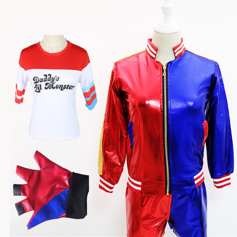 Movie Suicide Squad Harley Quinn Cosplay Costumes Jacket T-shirt Shorts Coat Suit Wigs Hair Adult Batman Joker for Women Girls
