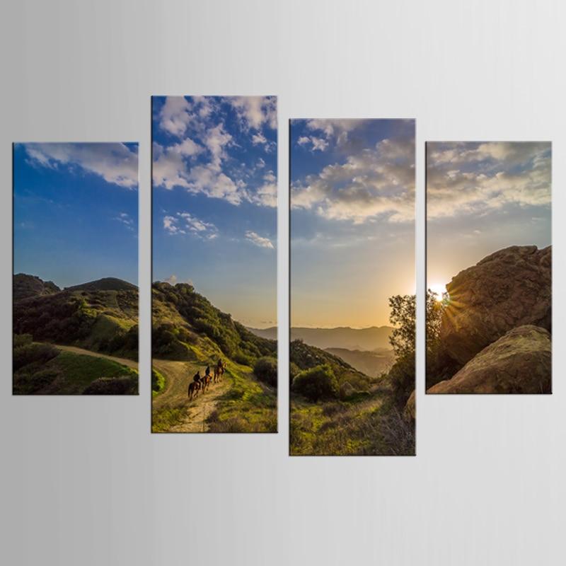 4 modern sunset stone rock landscape painting decorative painting - Home Decor
