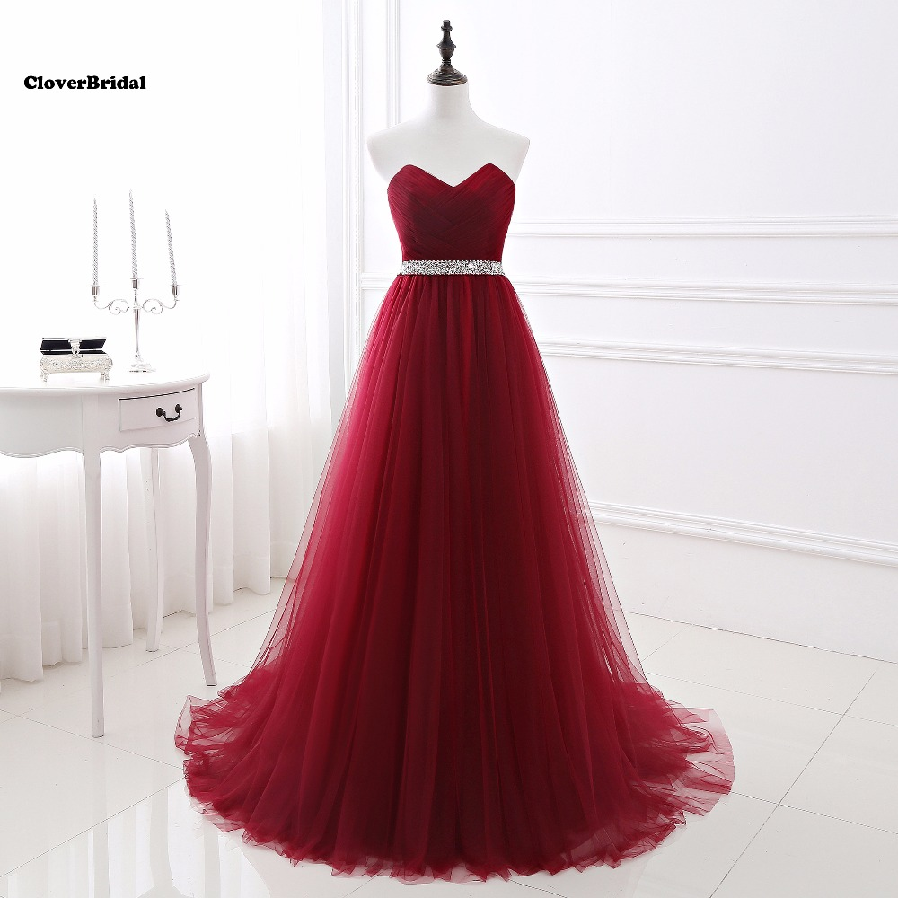 Fast shipping real photos tulle burgundy   prom     dresses   2017 long sweetheart size 2-16 ready-to-ship with beaded waistband