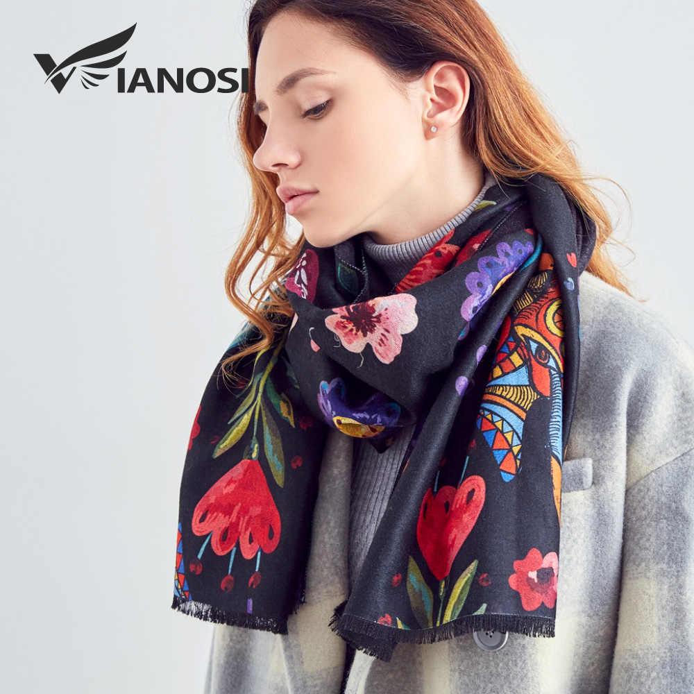 [VIANOSI] Bufanda de lana con diseño Original para Mujer chal cálido moda de invierno Bandana para mujeres Thicken lujo Bufanda Mujer