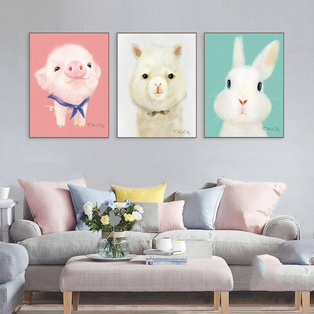 Triptych Lovely Cartoon Animal Canvas Art Print Painting