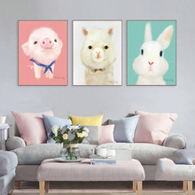 Triptych Lovely Cartoon Animal Canvas Art Print Painting Cute Rabbit Pig Dog Poster Wall Picture For Home Decoration Wall Decor