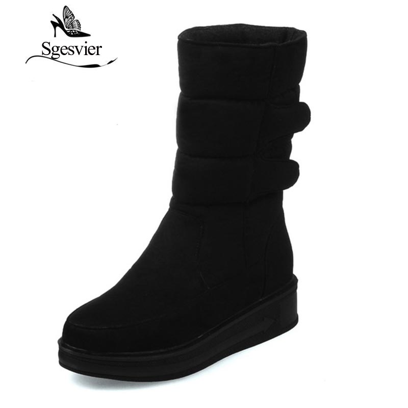 SGESVIER Women Boots 2017 Winter New Fashion Casual Mid-calf  Round Toe  Hook and Loop Plus Size 30-52 Lady Shoes Botas OX105 double buckle cross straps mid calf boots