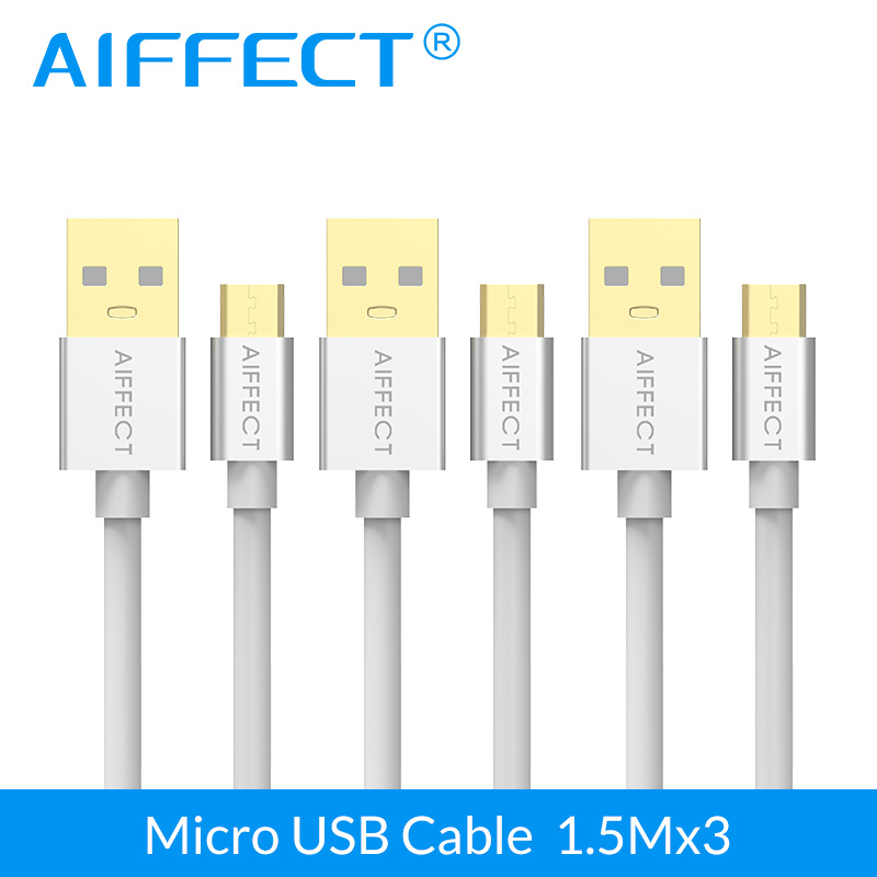 AIFFECT 3 PCs Hot Sales Micro USB Cable High Speed Micro-USB B to Data Charging Sync Cord Line with 5FTx3